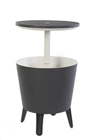 Keter Cool Bar Modern Smooth Style with Legs Outdoor Patio Table with 7.5 Gallon Beer Cooler, Grey