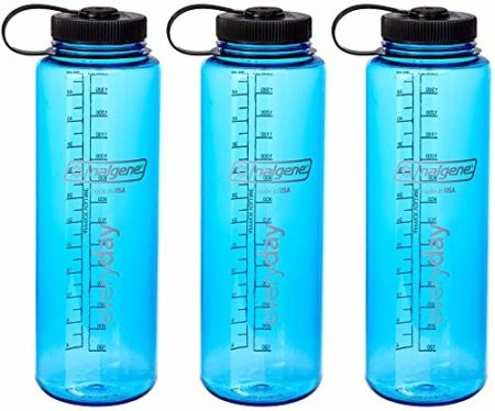 Nalgene HDPE 48oz Silo Wide Mouth BPA-Free Water Bottle (Blue 3-Pack)