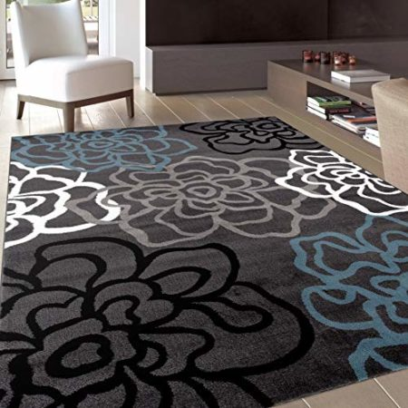 "Contemporary Modern Floral Flowers Gray Area Rug 5' 3"" X 7' 3"""