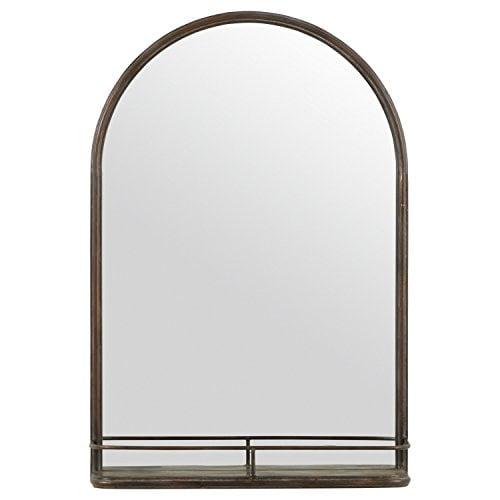 Stone & Beam Modern Round Arc Iron Hanging Wall Mirror With Shelf, 30 Inch Height, Dark Bronze