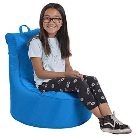 Factory Direct Partners Cali Paddle Out Sack Bean Bag Chair, Dirt-Resistant Coated Oxford Fabric, Flexible Seating for Kids, Teens, Adults, Furniture for Bedrooms, Dorm Rooms, Classrooms - French Blue